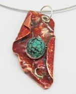 pendant sprinkled silver turquoise red