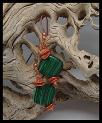 Malachite & Copper Earrings